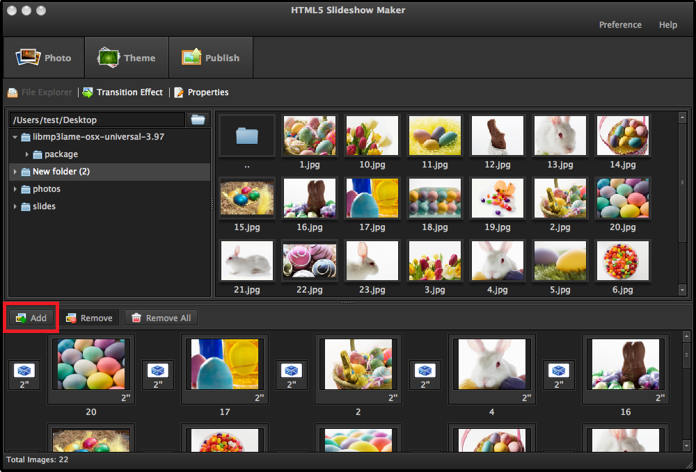 add photos to HTML5 Slideshow Maker