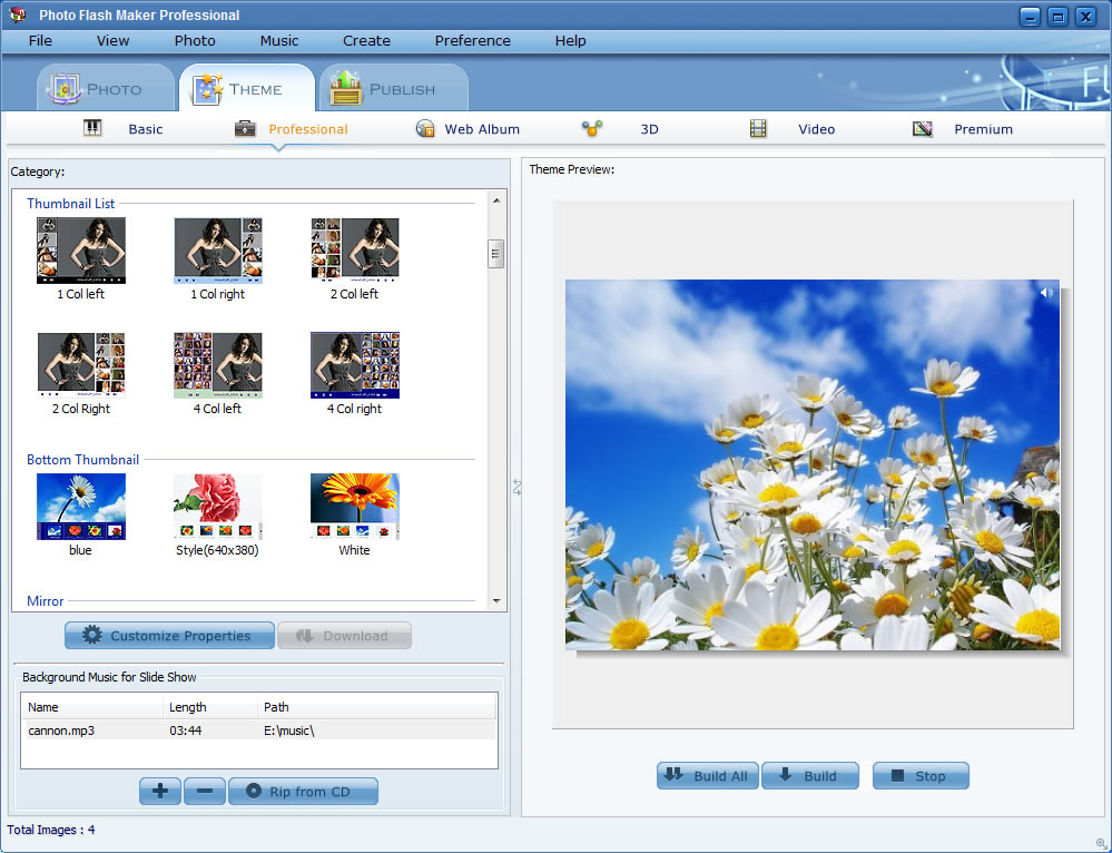 Software screenshot of the animated Flash banner maker
