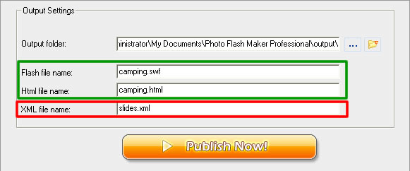 Saving photo flash slideshow